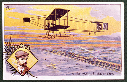 Henry Farman and his aircraft, 1908.