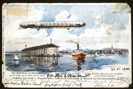 First flight of the Zeppelin on the Bodensee, Germany, 2 July 1900.