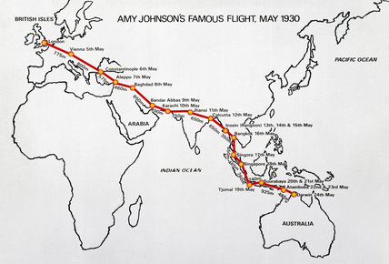 Amy Johnson's flight route, May 1930.