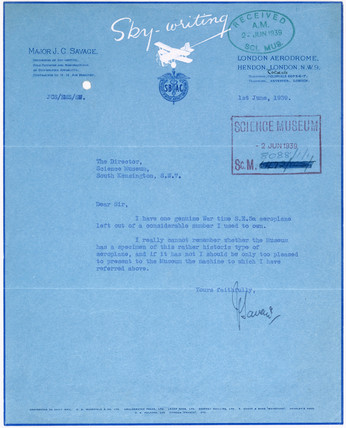 Letter from Major J C Savage to the Science Museum, 1st June 1939