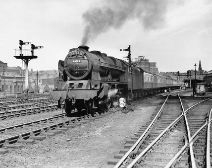 'The Royal Scot' steam locomotive, Leeds City Station, mid 1950s.