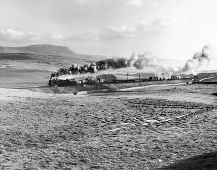 British Railways steam locomotive, Settle and Carlisle line, 1950s.