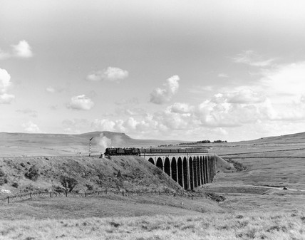 Steam trains going over the Ribblehead Viaduct, Settle and Carlisle line, c 1958.