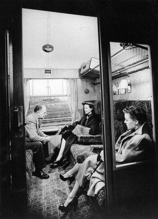Pasengers seated in British Railways First Clas compartment, March 1951.