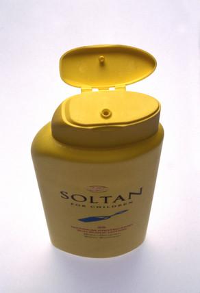 Bottle of 'Soltan' suntan lotion for children, c 1996.