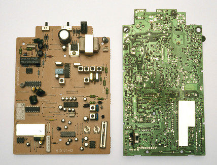 Two telephone circuit boards, 1990s.