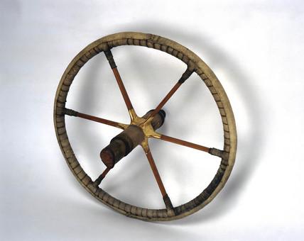 Egyptian chariot wheel, c 1400 BC.