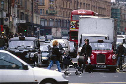 Traffic in London, 1997.