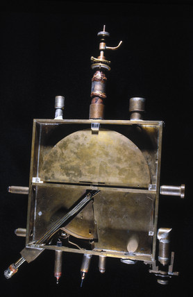 Early cyclotron designed by Lawrence and Livingston, 1932.