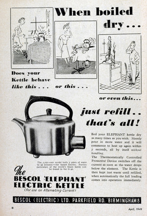 Advertisement for a Bescol electric kettle, 1949.