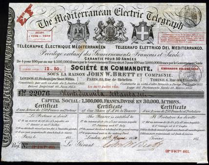 Mediterranean Electric Telegraph Company Share Certificate, 1854.