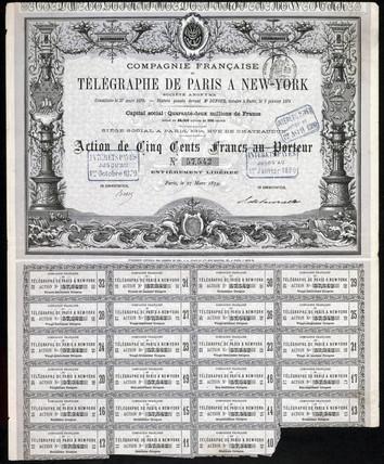 Paris-New York Telegraph Share Certificate, 27 March 1879.