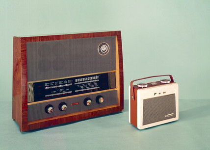 Murphy 242 FM/AM broadcast receiver, 1955, and Pam transistor radio, 1956.