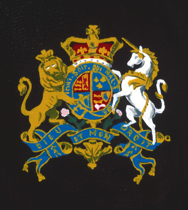 Coat of arms from door of Goldsworthy Gurney steam coach, 1827.