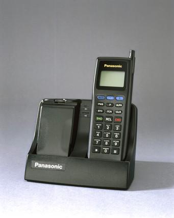 Panasonic I-series ETACS mobile phone with charger, 1993.