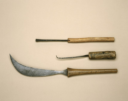 Curved Caesarean knife and cautery instruments, c 1879-1920.