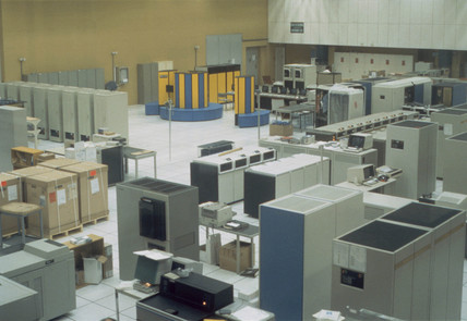 Mainframe computers in the Computer Centre, CERN, 1988.