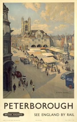 Peterborough market place,  BR poster, 1950-1959.