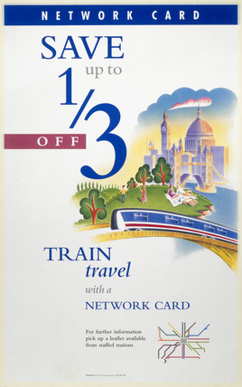 Save up to one third with a Network Card', BR poster, c 1990s.