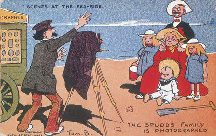 'Scenes at the Sea-Side - the Spud family is photographed', c 1900.