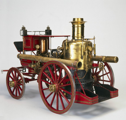 Horizontal double-cylinder steam fire engine, 1885.