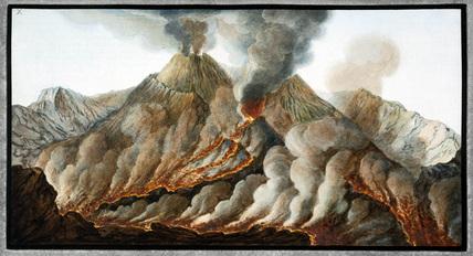 Mount Vesuvius' crater, Kingdom of Naples, 1767.