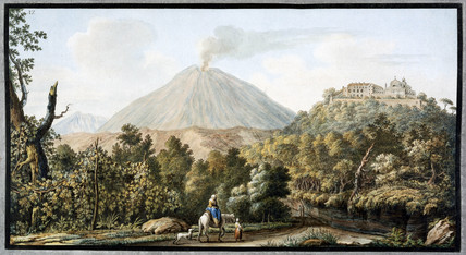 Mount Vesuvius smoking, Kingdom of Naples, c 1760.