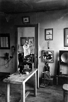 Lucien Bull in his laboratory at the Marey Institute, Paris, c 1954.