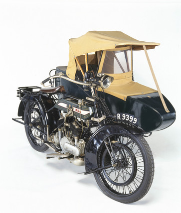 BSA motorcycle and sidecar, 1922.