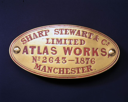 Sharp, Stewart and Co Ltd name plate, 1876.