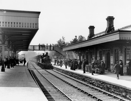 Llandrindod Wells station in Wales, c1905.
