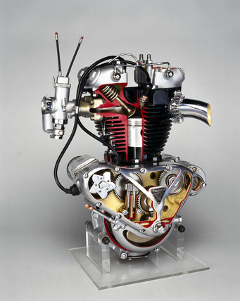 Triumph 'Speed Twin' motorcycle engine, 1950.