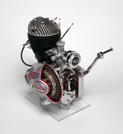 Villiers Mark 6E two-stroke motorcycle engine and gear unit, 1952.