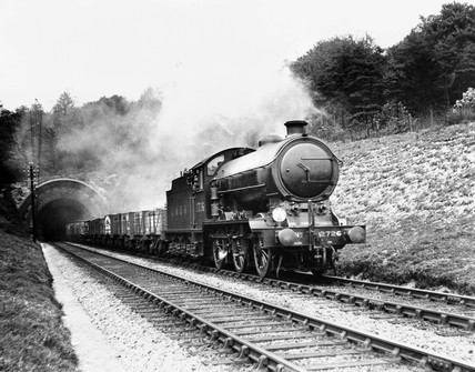 Class J39, 0-6-0 steam locomotive No 2726 leaving the south portal of Audley End tunnel, May 1936.