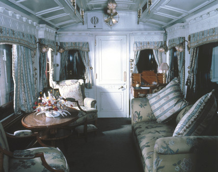 Interior of a royal carriage, early 20th century.