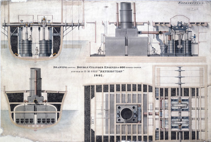800 hp double cylinder engines fitted to HMS 'Retribution', 1842.