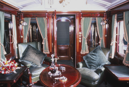 Smoking room of a royal carriage, early 20th century.