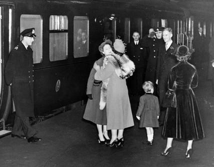 The Queen Mother welcoming  Princes Elizabeth, 17 November, 1951.