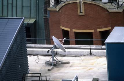 Satellite dish, London, April 1997.