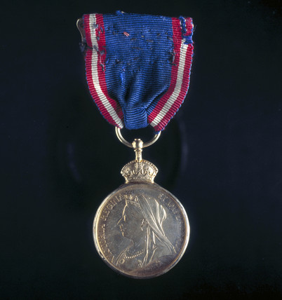 Royal Victorian Medal presented to Royal Train Driver by Edward VII, 29 July 1901.