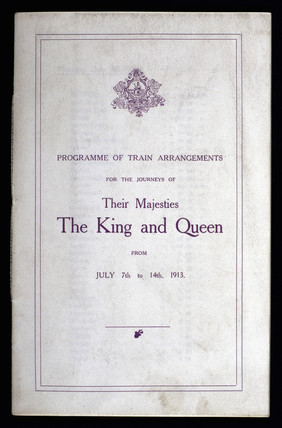 Programme of train arrangements for a royal tour, 1913.