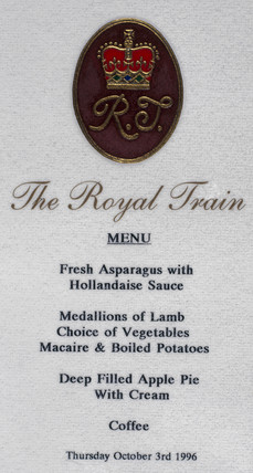 Menu provided for the Princes Royal, 3 October 1996.