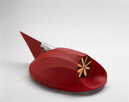 Christopher Cockerell's tethered demonstration hovercraft model, 1955.