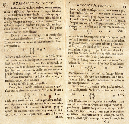 Galileo's drawings of Jupiter's satellites, 1610.