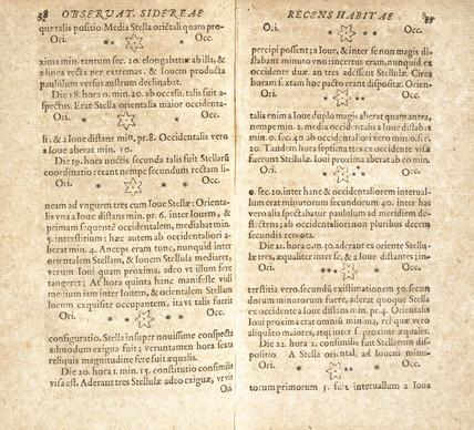 Galileo's drawings of Jupiter's satellites, 1610.