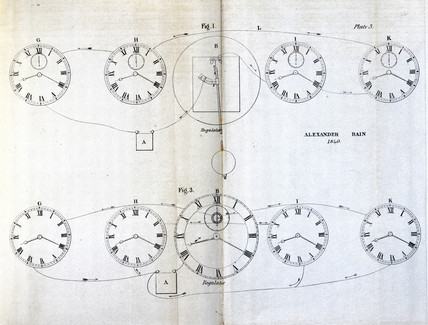 Bain electric clock mechanisms, c 1841.