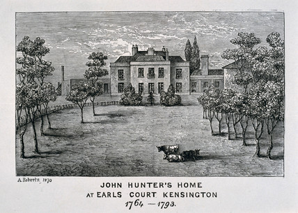 John Hunter's home at Earls Court, Kensington, 1764-1793.
