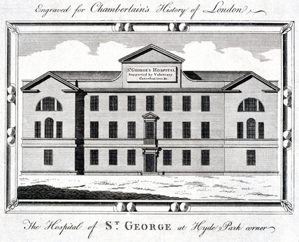 St George's Hospital, Hyde Park Corner, London, c 1837.