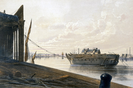 The old frigate at the cable works, Greenwich, 1866.