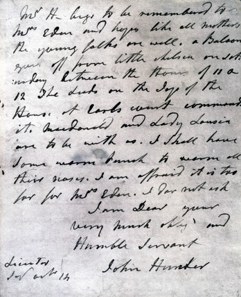 Letter from John Hunter to William Eden, 1784.